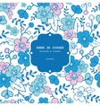 blue and pink kimono blossoms frame vector image vector image