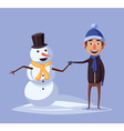 Boy making cute snowman Cartoon vector image
