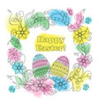 colorful easter card with patterned eggs floral vector image