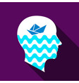 dreaming brain icon flat style vector image