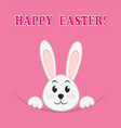 easter rabbit on pink background greeting happy vector image vector image