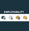 employability icon set four elements in diferent vector image vector image