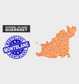 flame mosaic guernsey island map and distress vector image vector image
