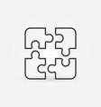 four jigsaw puzzle pieces concept line icon vector image