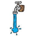freehand drawn cartoon running faucet vector image vector image