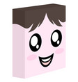 funny cube face vector image vector image