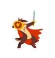 gladiator dog in red cape fighting with sword and vector image vector image