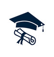 graduation hat diploma icon isolated on white vector image vector image
