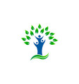 green tree people environment organic logo vector image vector image