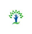 green tree people environment organic logo vector image vector image