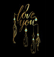 greeting card luxury golden i love you vector image