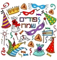 Hand drawn elements set for Jeweish holiday purim vector image vector image