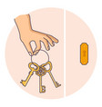 hand holding golden key at keyhole vector image