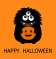 happy halloween card black monster silhouette vector image vector image