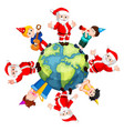 happy santa claus and kids vector image vector image