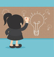 idea concept back view business woman writing vector image