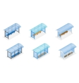 isometric bus stop on white background public vector image vector image