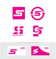 Letter s pink logo set icon vector image vector image