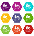 love cupid icon set color hexahedron vector image vector image