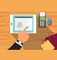 mobile commerce concept with payment machine and vector image vector image