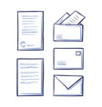 office pages and correspondence sketches vector image vector image