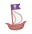 pirate ship with flag skull cartoon isolated icon vector image