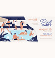 pool party promo banner with place for text vector image