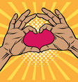 pop art two hands making heart sign cartoon comic vector image