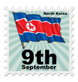 post stamp of national day of North Korea vector image