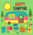 poster happy camping with a trailer vector image vector image