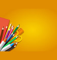 realistic school supplies on yellow background vector image