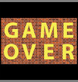 retro pixel game over sign gaming concept video vector image vector image