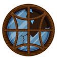 round window with broken glass vector image vector image