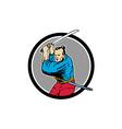 Samurai Warrior Katana Sword Circle Drawing vector image vector image