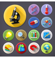 Science and education long shadow icon set vector image