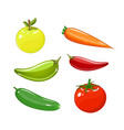 set of vegetables of tomatoes carrots vector image