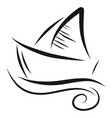 ship on a wave color on white background vector image vector image