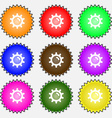 Sun icon sign A set of nine different colored vector image