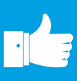 thumb up gesture icon white vector image vector image