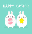 two bunny holding chicken bird painting egg set vector image