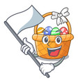 with flag easter basket above wooden cartoon table vector image