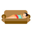 woman sleeping on couch vector image