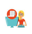 woman with desktop computer and paper receipt vector image vector image