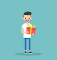 young happy bearded man holding a bright gift box vector image