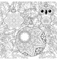 zentangle stylized christmas decorations with vector image