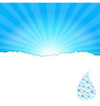 Sanburst Background With Water Drop vector image