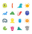 cartoon bacteria characters icon set vector image
