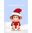 New Year greeting card with cheerful monkey in vector image