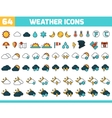 64 color weather icons with sun moon clouds and vector image vector image