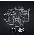 alcoholic drinks banner chalkboard style vector image